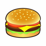 Cheeseburger or hamburger icon for signs and logos Stock Photos