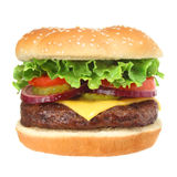 Cheeseburger Hamburger Isolated On White Stock Image