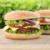 Cheeseburger hamburger tomatoes cheese Stock Photo