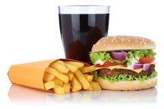 Cheeseburger hamburgeru i dłoniaka menu posiłku combo kola pije isol Zdjęcie Stock