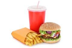 Cheeseburger hamburgeru i dłoniaka menu posiłku napój odizolowywający zdjęcia stock