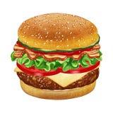 cheeseburger Hand-dragen illustration som färgas digitalt vektor illustrationer