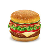 Cheeseburger. Hand-drawn illustration, digitally colored Stock Photo
