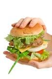 Cheeseburger in handen wordt gehouden die royalty-vrije stock fotografie
