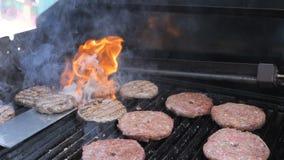 Cheeseburger het koken op het vlam geroosterde hosper kalfsvlees van het het rundvleesschaap van het vleesvarkensvlees en kippenf stock footage