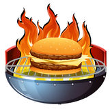 Cheeseburger on hot grill Stock Image