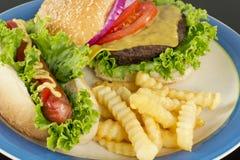 Cheeseburger Hotdog Fries Stock Photography