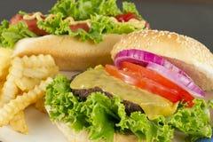 Cheeseburger Hotdog Fries Stock Images