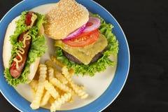 Cheeseburger Hotdog Fries Royalty Free Stock Images