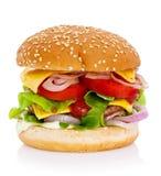Cheeseburger im Brotbrötchen Stockfotos
