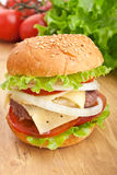 Cheeseburger, with ingredients Royalty Free Stock Photo