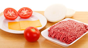Free Cheeseburger Ingredients On A Wood Tray Stock Photo - 20500510