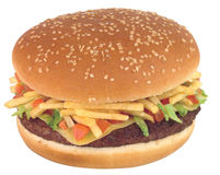 Cheeseburger. Isolated Stock Image