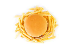 Cheeseburger isolated on the white Royalty Free Stock Photography