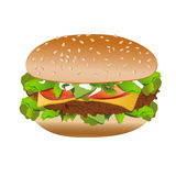 Cheeseburger, isolated on white background, vector Stock Images