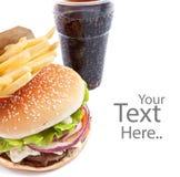 cheeseburger koli francuza dłoniaki zdjęcie stock