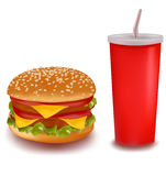 cheeseburger kopii napój Zdjęcie Stock