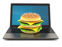 Cheeseburger with laptop. Isolated on white background. 3d illustration stock illustration