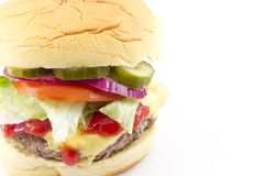 Cheeseburger Lettuce Tomato Onion Pickle Stock Images