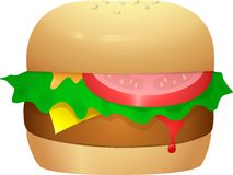 Cheeseburger with lettuce and tomato Royalty Free Stock Photos