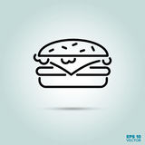 Cheeseburger line icon. Cheeseburger or Hamburger Line Icon Vector Stock Photo
