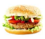 Cheeseburger with meat, onion, salad and ketchup Stock Photos
