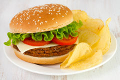 Cheeseburger met spaanders stock foto
