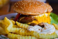 Cheeseburger mit Pommes-Frites stockbild