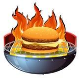 Cheeseburger na gorącym grillu ilustracji