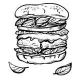 Cheeseburger o hamburger disegnato a mano di schizzo Fotografia Stock