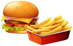 Cheeseburger och pommes frites vektor illustrationer