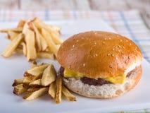 Cheeseburger och pommes frites Royaltyfri Foto
