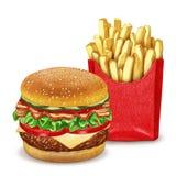 Cheeseburger och pommes frites stock illustrationer