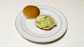 Cheeseburger och småfiskar Arkivbild
