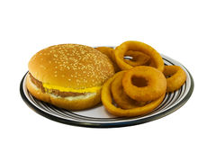 Cheeseburger with onion rings Royalty Free Stock Photos