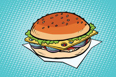 Cheeseburger with onions and cheese. Pop art retro vector illustration Stock Image