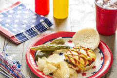 Cheeseburger at a patriotic themed cookout. A cheeseburger with ketchup and mustard at a patriotic themed BBQ.  It is served with potato chips, pickles and ice Stock Photo