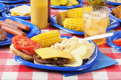 Cheeseburger on a picnic table Royalty Free Stock Photo