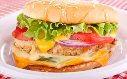Cheeseburger on Plastic plate Royalty Free Stock Image