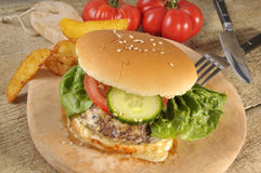 Cheeseburger on plate Royalty Free Stock Photography
