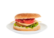 Cheeseburger in a plate Stock Images