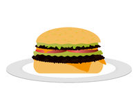 Cheeseburger on the plate Stock Photography