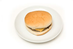 Cheeseburger on plate Stock Photo