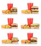 Cheeseburger rassodato della raccolta dell'hamburger e pasto del menu delle fritture combinato Fotografie Stock Libere da Diritti