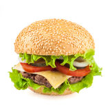 Cheeseburger saboroso clássico isolado no fundo branco Fotos de Stock Royalty Free
