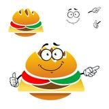 Cheeseburger saboroso do fast food dos desenhos animados Imagens de Stock Royalty Free