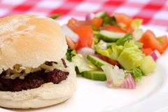 Cheeseburger with salad. Photograph of cheeseburger on a bread roll with salad Stock Images