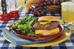 Cheeseburger with salad Royalty Free Stock Photos
