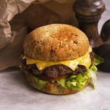 Cheeseburger simple de boeuf Photos libres de droits