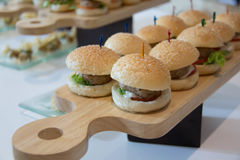 Cheeseburger Sliders with Lettuce Tomato Royalty Free Stock Images